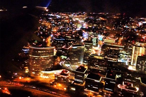 Rosslyn as seen from a flight arriving at Reagan National Airport (photo courtesy Brad G.)
