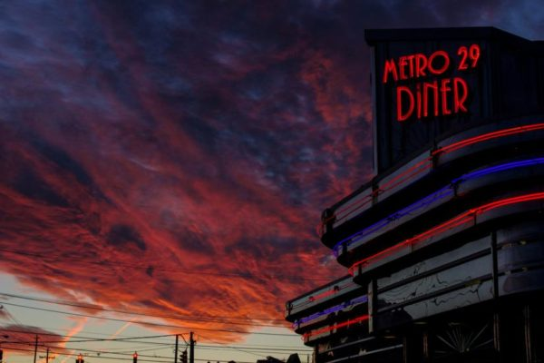 Sunset over Metro 29 Diner on Lee Highway (Flickr pool photo by Wolfkann)