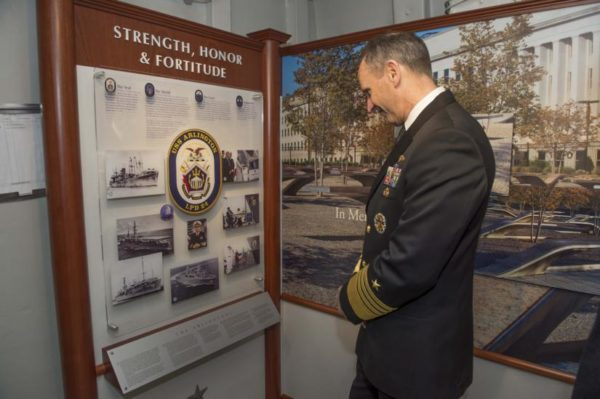 Adm. Jonathan Greenert in the USS Arlington tribute room (photo courtesy U.S. Navy)