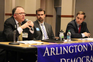 From left, Peter Fallon, Cord Thomas and Alan Howze at the Arlington Young Democrats County Board debate