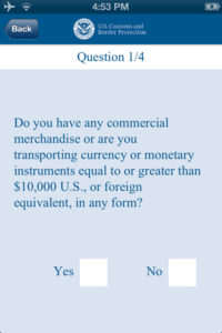 Airside Mobile customs app screencap