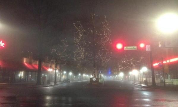 Dense fog in Shirlington (photo courtesy @SBDSLLC)