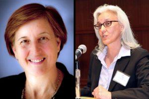 School Board candidates Nancy Van Doren (L) and Barbara Kanninen (R)