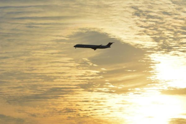 Airliner at sunset on Feb. 7, 2014 (Flickr pool photo by J. Sonder)