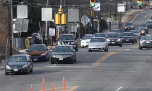 Traffic on Columbia Pike approaching Washington Blvd