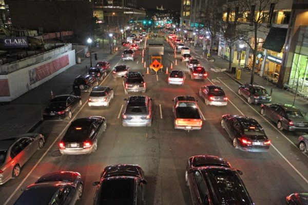 Traffic backup in Rosslyn caused by ongoing construction in the middle of N. Lynn Street