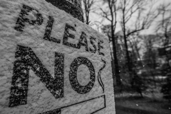 """Please No Smoking"" sign in the snow on 3/30/14 (Flickr pool photo by Wolfkann)"