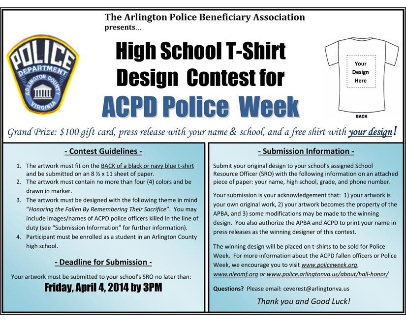 Police sponsoring hs ms t shirt design contest for T shirt design contest flyer