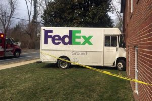 FedEx truck crashed into building (photo courtesy ACFD)