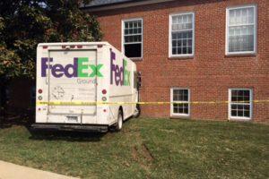 FedEx truck crashed into building (photo courtesy Jason Gropper)