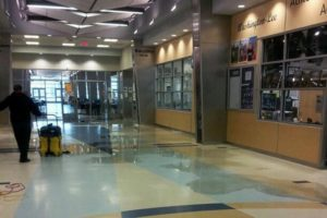 Water damage from a small fire at Washington-Lee HS (photo courtesy @RobertoClaure)