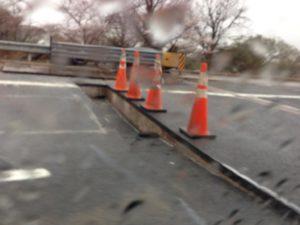 Roadway damage on the Roosevelt Bridge (photo courtesy @katiekirk)