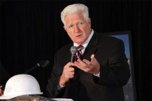 Rep. Jim Moran speaks at the groundbreaking of the Central Place residential construction in Rosslyn