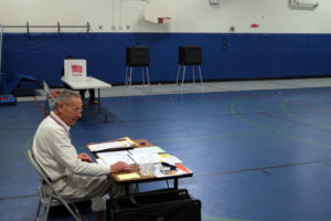 The polling place at Barrett Elementary School is slow for the 2014 special election
