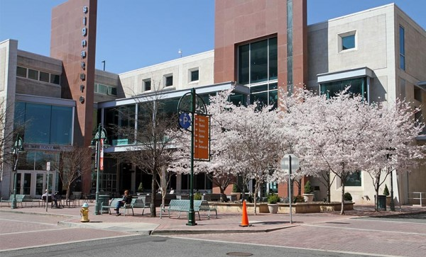 Springtime in Shirlington, in front of Signature Theater and the Shirlington Branch Library