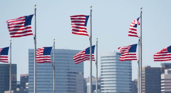 Flags with Rosslyn buildings in the background (Flickr pool photo by John Sonderman)