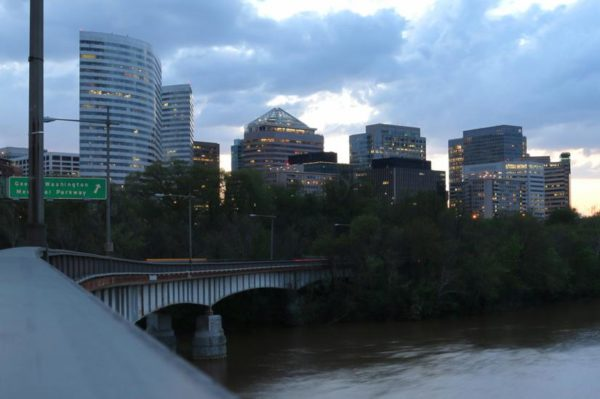 Rosslyn skyline from the Roosevelt Bridge (Flickr pool photo by Brian Allen)