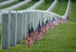 Flags in at Arlington National Cemetery (Flickr pool photo by Jeff Reardon)