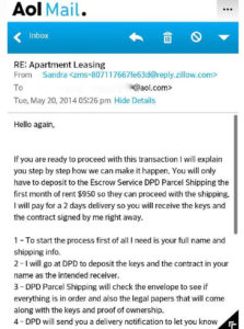 Zillow rental listing scam email (image courtesy Matthew Leighton)