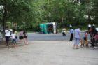 Overturned ART bus on S. Dinwiddie Street