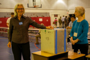 Barbara Kanninen votes for herself in the 2014 School Board Democratic caucus (Flickr pool photo by wolfkann)