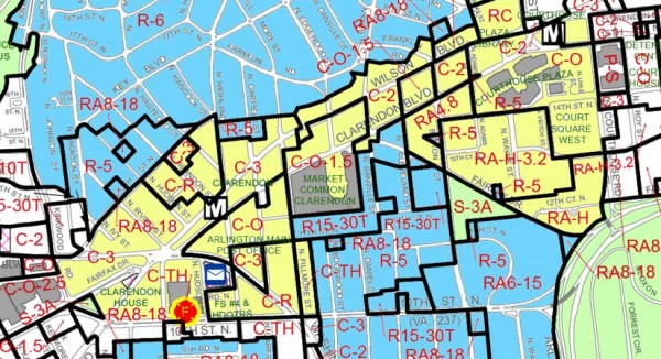Map showing commercial/mixed-use (yellow) versus residential (blue) areas around Clarendon