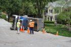 Gravel truck overturns in North Arlington