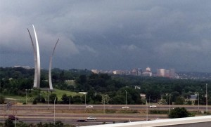 Thunderstorm approaches Arlington, with Rosslyn, the Air Force Memorial and Arlington National Cemetery in the background (file photo)