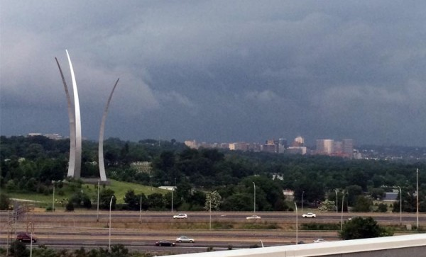 Thunderstorm approaches Arlington on 5/27/14, with Rosslyn, the Air Force Memorial and Arlington National Cemetery in the background.