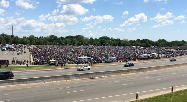 Bikers gather for Rolling Thunder in the Pentagon parking lot on 5/25/14
