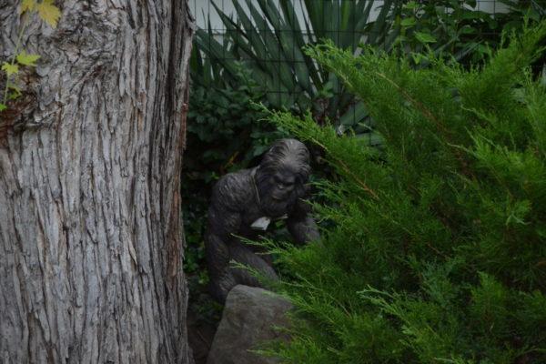 A sasquatch statue in Jennings' garden.