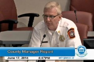 Arlington Fire Chief James Schwartz presents to the County Board