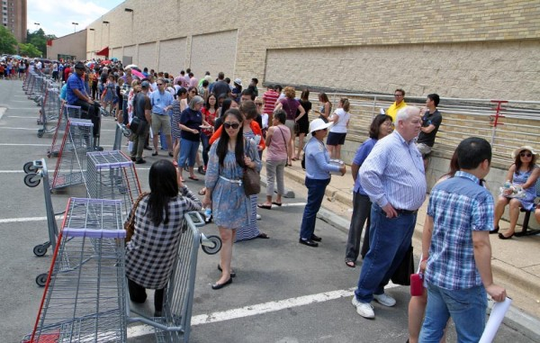 Patrons lined up to have a book signed by Hillary Clinton at the Pentagon City Costco on 6/13/14