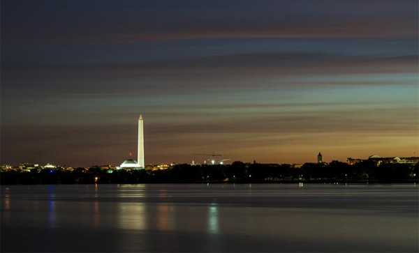 Sunrise over D.C. and the Potomac (Flickr pool photo by Wolfkann)