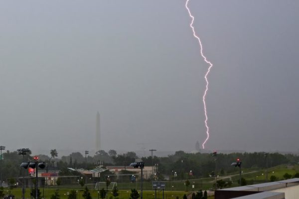 Lightning over D.C. and Long Bridge Park (Flickr pool photo by Joseph Gruber)