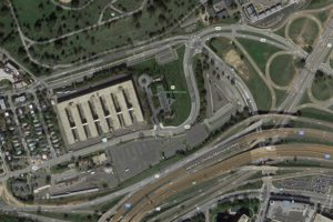 Google Map shows the former Navy Annex and the current alignment of Columbia Pike