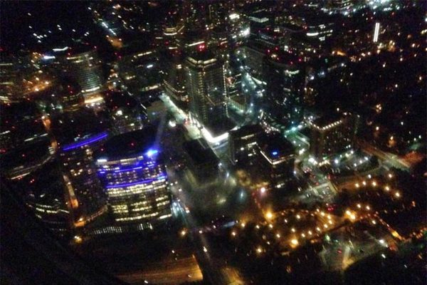 Rosslyn as seen from the air, at night (Photo courtesy @kennethpiner)