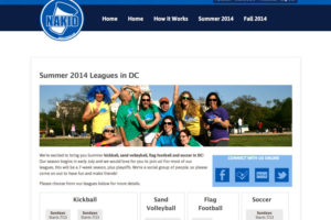 A screenshot of Nakid Sports' website, developed by LeagueApps