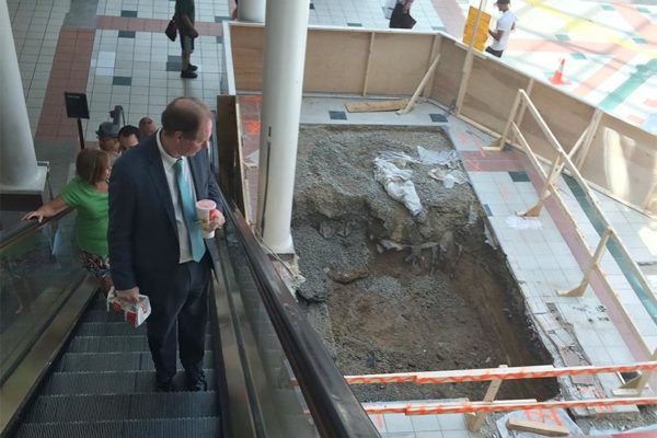 A lunch-goer looks at a construction area at the Pentagon City mall food court