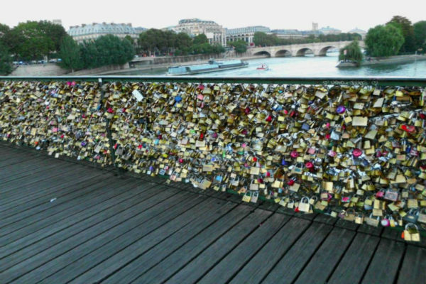 Love locks on the Pont des Arts in Paris.