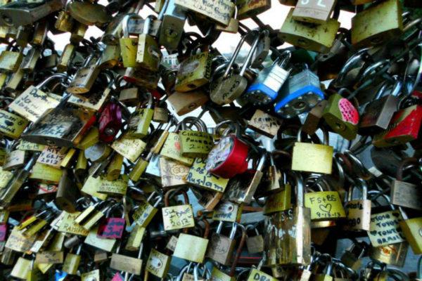 Love locks on the Pont des Arts in Paris.