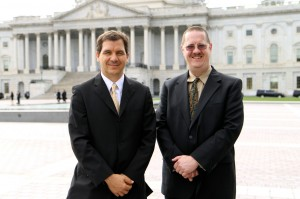 Arlington Career Center teachers Sean Kinnard, left, and Jeffrey Elkner spoke at the Capitol on Sept. 10, 2014 about their successes in career and technical education.