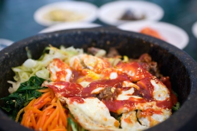 Bibimbap combines rice, meat, vegetables and sauces. (via Flickr/Pen Waggener)