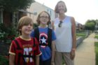 Tristan, 7, Braden, 11, and their mom Julia Stewart walked to the boys first day of the 2014-2015 school year Tuesday, Sept. 2, 2014.