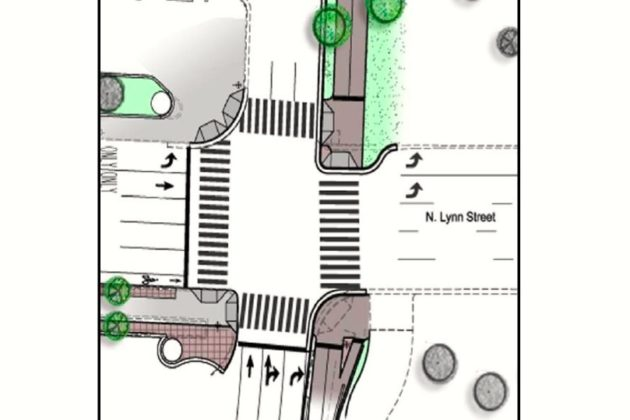 "The work will extend the curbs at the ""Intersection of Doom,"" minimizing cyclists' and pedestrians' time exposed to car traffic. (Courtesy of Arlington County/Toole Design Group)"