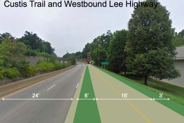 A County Board-approved plan will remove a lane of traffic from Lee Highway and widen Custis Trail (Courtesy of Arlington County/Toole Design Group)