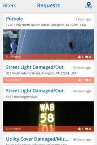 Screenshot of the ArlingtonVA iPhone app