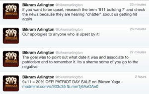 Bikram Arlington 9/11 Tweets (Screenshot via @Cameron_Gray)