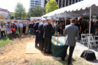 A large crowd of CEB employees gather to watch officials break ground on CEB Tower in Rosslyn