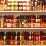 Hot sauce wall at Rocklands